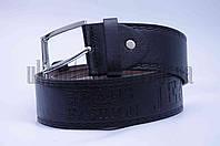 """Ремень мужской  кожзам, джинс черный """"Remen"""" LM-638"""