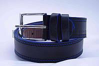 """Ремень мужской  кожзам, джинс черный с синим """"Remen"""" LM-638"""