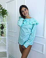 Блузка с рюшами из хлопка. Разные цвета.