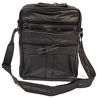 Удобная мужская кожаная сумка art. 8091 черного цвета
