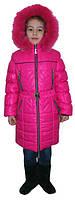 Яркий детский зимний пуховик розового цвета