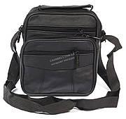 Удобная мужская кожаная сумка art. 7022 черного цвета