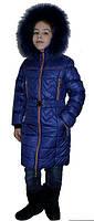 Модный детский зимний пуховик синего цвета с мехом