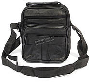 Удобная мужская кожаная сумка art. 8017 черного цвета