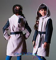 """Кашемировое пальто для девочки с кожаными вставками """"Бантик-Кожа"""""""