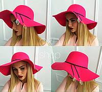 Шляпа фетровая женская c листиками SHc12