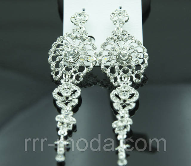 Большой выбор свадебных длинных серёжек в кристаллах и камнях по самым низким ценам.
