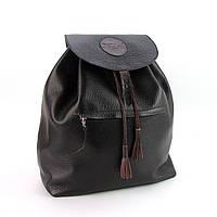 Кожаный черный рюкзак ручной работы