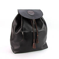 Кожаный черный рюкзак ручной работы, фото 1