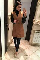 Пальто женское кашемир с эко кожей  6 ян   $
