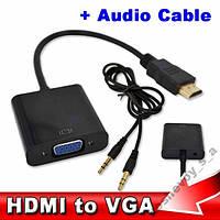 HDMI видео-конвертер  с аудио кабелем черный
