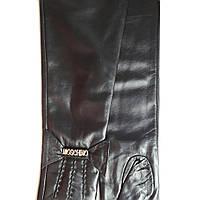 Длинные женские кожаные перчатки Moschino на плюше