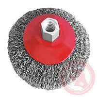 Щётка конусная 100мм, для УШМ, М14, витая проволока (ВТ-5100)