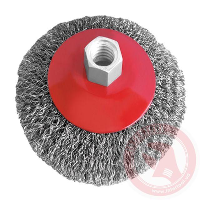 Щётка конусная 115мм, для УШМ, М14, витая проволока (ВТ-5115)
