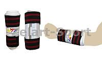 Защита для таеквондо рук (предплечья) PU WTF  (р-р S-XL, белый, крепление на липучках)