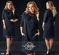 Шикарное черное платье с кружевом