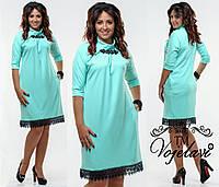 Батальное платье с брошью и кружевом  (разные цвета) . 48-54р.
