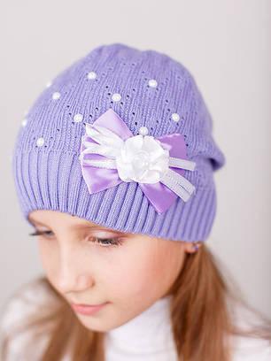 """Вязаная  шапка с бусинами для девочки """"Забава"""""""