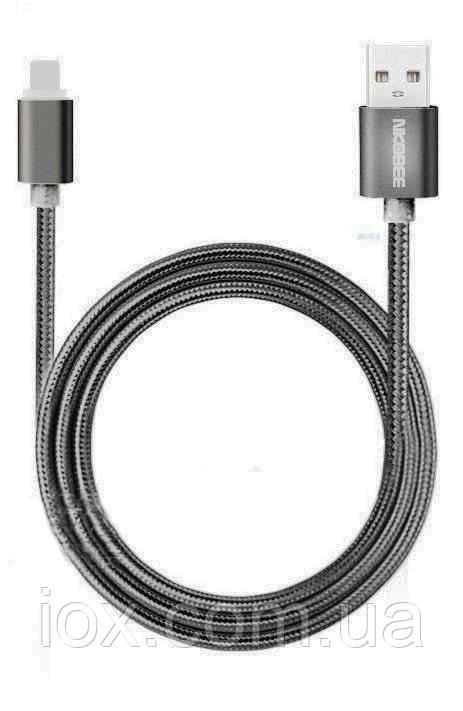 Плетеный черный USB кабель Nkobee  для Apple Iphone 5, 5s, 6, 6s, 6 Plus