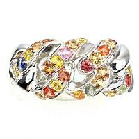 Кольцо с натуральными цветными САПФИРАМИ