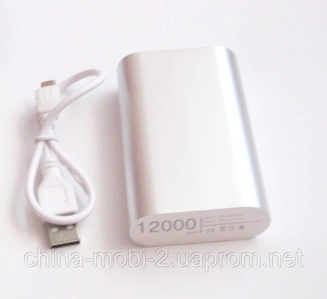 Універсальна мобільна батарея в стилі Xiaomi power bank 12000 mAh, silver