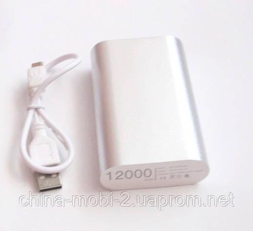 Універсальна мобільна батарея в стилі Xiaomi power bank 12000 mAh, silver, фото 2