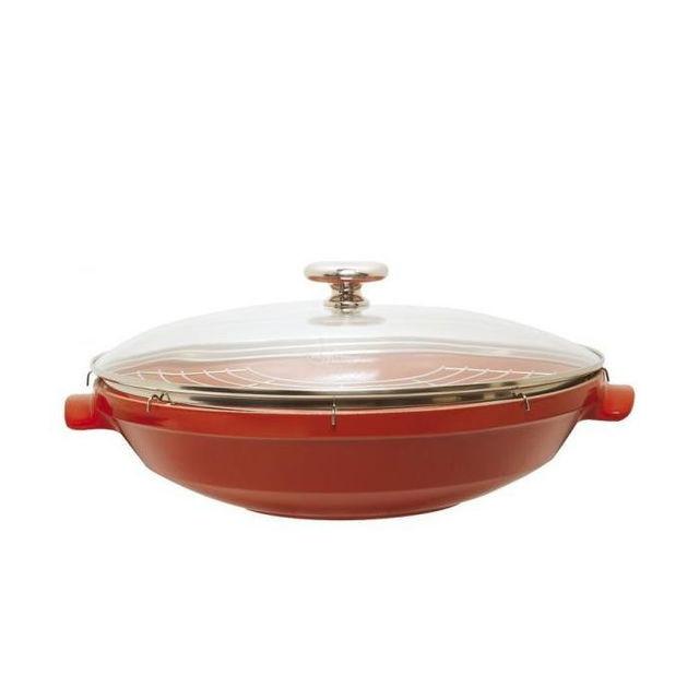 Вок Emilе Henry с решеткой для гриля и крышкой красный Flame 614576
