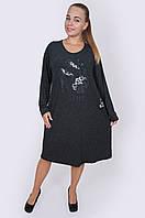 Теплое трикотажное платье 7006 серого цвета, фото 1