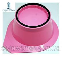 Миска для краски, окрашивания волос с резинкой розовая