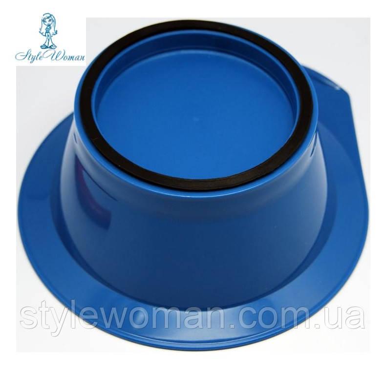 Миска для краски, окрашивания волос с резинкой синяя