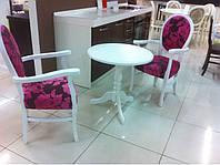Столик деревянный кофейный Стелла 70х69 (белый, ваниль, бежевый)