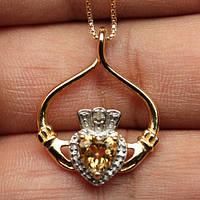 Нарядное серебряное ожерелье с цитрином и бриллиантами