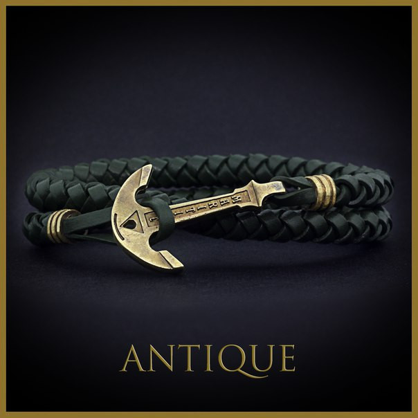 Кожаный браслет на руку с якорем Olive Skin