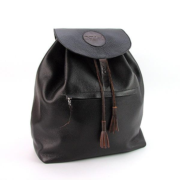 Рюкзак молодежный кожаный черный Viladi 029 (ручная работа)