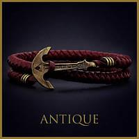Кожаный браслет на руку с якорем Wine Dream