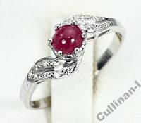 Кольцо серебро 925 натуральный рубин р.17,75