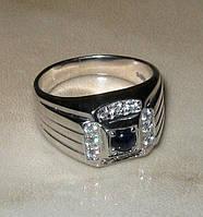 Кольцо серебро 925 позолота натуральный сапфир р.17,5