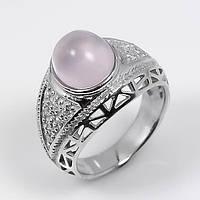 Кольцо серебро 925 натуральный розовый кварц р.17,5