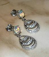 Серьги серебро 925 позолота натуральный опал