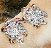 Серьги серебро 925 позолота натуральные топазы