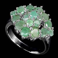 Кольцо серебро 925 натуральные изумруды р.17