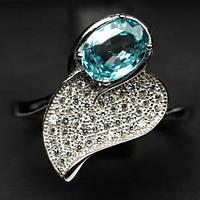 Кольцо с натуральным драгоценным камнем - ЦИРКОНОМ цвета Морской волны / Старлит и фианитами / Рубиновая Мечта