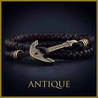 Кожаный браслет на руку с якорем Ancient Gold