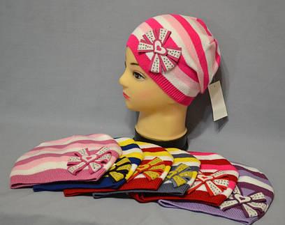 """Вязаная шапка в полосочку для девочки """"Шик"""""""