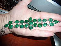 Роскошный серебряный браслет с натуральными изумрудами