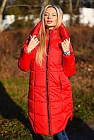 Стильное женское пальто пуховик с капюшоном на молнии