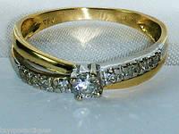 Золотое кольцо 750пробы с бриллиантами в стиле Тиффани