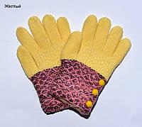 Перчатки Пуговки размер S. 6-9 лет. Горчица, желтый
