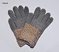 Перчатки Пуговки размер S. 6-9 лет. Горчица, желтый, пепельно-роз, фото 1