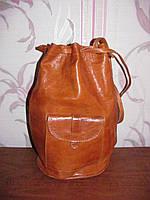 Рыжая кожаная сумка рюкзак, фото 1
